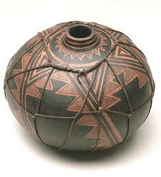 "*Gourd Art - ""Anasazi Wrapped gourd pot"" by Robert Rivera"