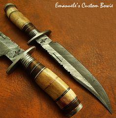 Emanuele's 1-OF-A-KIND RARE CUSTOM MADE DAMASCUS BOWIE KNIFE | FOSSIL GIRAFFE | eBay