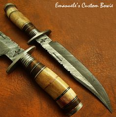 Emanuele's 1-OF-A-KIND RARE CUSTOM MADE DAMASCUS BOWIE KNIFE | FOSSIL GIRAFFE | eBay