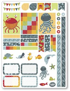Under The Sea Decorating Kit / Weekly Spread Planner Stickers for Erin Condren Planner, Filofax, Plum Paper