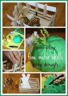 This week our fine motor skills practice takes on a zoo theme. Play dough tiny playmobil pieces, tweezers and more make for great fine motor skills practice mixed with play! Zoo Activities, Playdough Activities, Motor Skills Activities, Fine Motor Skills, Preschool Activities, Dear Zoo Eyfs, Zoo Preschool, Tot School, Kids Playing