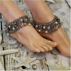 Our gypsy bride antique silver ankle bracelet is handmade and one of a kind. Stunning and unique like you. Our handmade ankle bracelet features antique silver and gold rhinestone charms and ivory pear