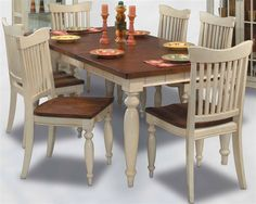 Philip Reinisch Co. ColorTime Cafe Maspero Dining Table Set in Sand Shell White - Painted Kitchen Tables, Kitchen Table Chairs, Kitchen Dining Sets, Dining Room Sets, Dining Room Furniture, Dining Room Table, Home Furniture, Painted Furniture, Diy Kitchen Projects