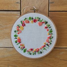 Round Floral Embroidery Hoop Art - Hoop Art - Wall Art - Home Wall Art - - Home Decor - Wall Hanging by TheBarmyFoxShoppe on Etsy https://www.etsy.com/uk/listing/271164189/round-floral-embroidery-hoop-art-hoop