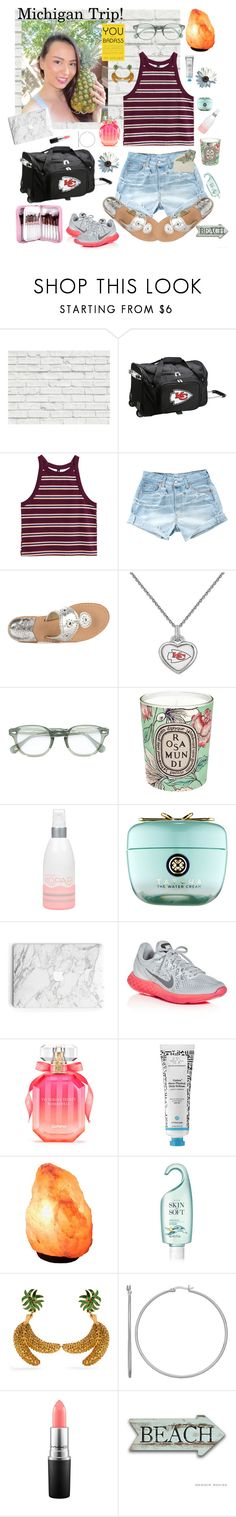 """Michigan Trip!!!"" by mledoll ❤ liked on Polyvore featuring Brewster Home Fashions, Levi's, Jack Rogers, Moscot, Diptyque, Kopari, Tatcha, NIKE, Victoria's Secret and Avon"