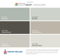 I found these colors with ColorSnap® Visualizer for iPhone by Sherwin-Williams: Silvermist (SW 7621), Urbane Bronze (SW 7048), Repose Gray (SW 7015), Sea Salt (SW 6204), Amazing Gray (SW 7044), Reserved White (SW 7056).