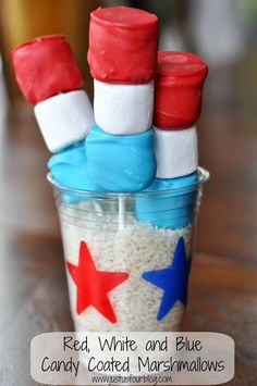 red, white & blue ~ 4th. of July marshmallows