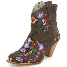 Grey floral ankle boots