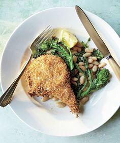 Panko-Crusted Pork Chops with Roasted Broccoli Rabe recipe