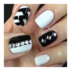 Black and White ❥ using Essie -Marshmallow and Zoya - Raven ✧ ❤ ✧ @Madicures MaddyRodriguez MaddyRodriguez