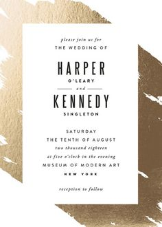 """""""Gilded"""" - Abstract, Modern Foil-pressed Wedding Invitations in Gold by Carrie ONeal."""