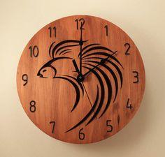Betta clock Fish clock Animal clock Wood by BunBunWoodworking