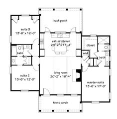 Looking for the best house plans? Check out the Flint Cottage plan from Southern Living. Garage House Plans, Best House Plans, Small House Plans, House Floor Plans, Small Cottage Homes, Cottage House Plans, Ranch House Plans, Cottage Ideas, Cottage Living