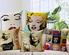 5 Pcs/lot Upscale Retro Star Marilyn Monroe Thick Cotton Linen Pillow Covers Car Seat Pillowcase Home Decor Cushion Cover