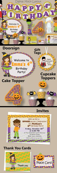 Halloween Decorations Costume Birthday Party- Invitation, Banner, Cake Topper, Cupcake, Package, Favors, Decor, Party Supplies #bcpaperdesigns