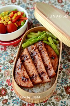 Baked ham steak (Mirin, soy sauce, mustard)