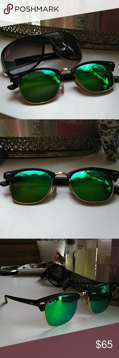 Ray-Ban Clubmaster In good condition Green lenses with gold  CLUBMASTER 1145/19 RB 3016 I bought this from another posher but there too small for my face usually love the big styles  Nothing wrong there Beautiful but I just don't want them to be in my closet💚💕 Ray-Ban Accessories Sunglasses