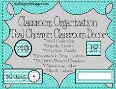Classroom Organization~ Teal Chevron Classroom Decor $ || this has Samantha Massey allllll over it