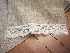 41. Burlap Table runner with lace