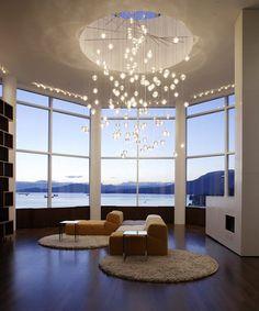 luxury home lighting design - Contemporary Design - Home Design . Style At Home, Home Lighting, Lighting Design, Bocci Lighting, Modern Lighting, Lighting Ideas, High Ceiling Lighting, Ceiling Height, Bedroom Lighting