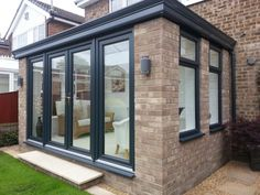 patio enclosure design ideas for patio remodel Conservatory Ideas Sunroom, Modern Conservatory, Conservatory Kitchen, Orangery Conservatory, Conservatory Interiors, Balcony Ideas, House Extension Plans, House Extension Design, Glass Extension