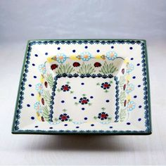 Polish pottery - squared bowl. I love this pattern because the yellow and bright blue colors remind me of the sky...