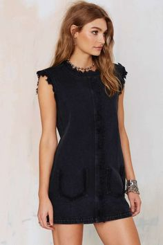 Black Denim Shift Dress