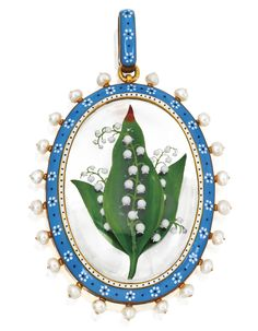 GOLD, ENAMEL & SEED PEARL PENDANT, CARLO GIULIANO, CIRCA 1875.  The oval-shaped pendant centered by reverse-painted glass depicting a bouquet of Lily of the Valley, framed with blue, white and black enamel of floral design, bordered by seed pearls, the reverse inscribed 'With Baby's Love March 1, 1879,' stamped C.G. With signed and fitted box.