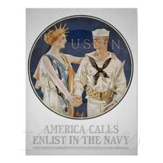 """This vintage World War II poster features Liberty shaking hands with a sailor. It reads, """"U. -- America Calls Enlist In The Navy"""". Celebrate and Naval History with this digitally restored vintage poster from The War Is Hell Store. Vintage Ads, Vintage Posters, Vintage Prints, Vintage Canvas, Vintage Images, Us Navy Recruiting, Go Navy, Navy Mom, Navy Life"""