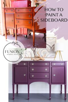 This color is a rich, deep purple tone and it adds a very sophisticated vibe to any space.In this project, we are going to teach you how to paint a sideboard using Twilight Geranium, to create that perfect elegant look for your home! Furniture Makeover, Diy Furniture, Furniture Refinishing, Colorful Furniture, Furniture Design, Painted Sideboard, Favorite Paint Colors, Mineral Paint, Chalk Paint Furniture