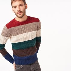 Blocked Multi Colored Cable Crew Sweater