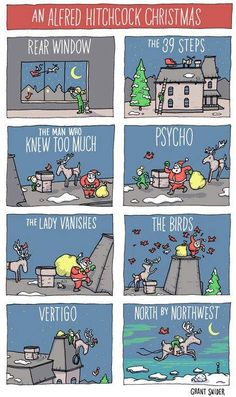 Mystery Fanfare: Cartoon of the Day: An Alfred Hitchcock Christmas (love Vertigo the best!)