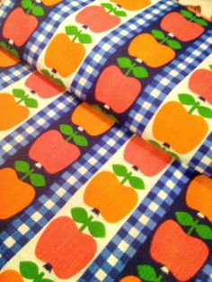 Lovely Vintage scandi retro fabric from the 60s. Checked blue, red and orange with apples.