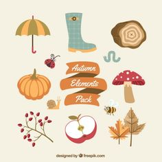 Autumn elements pack Free Vector