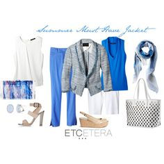 Etcetera | Summer 2015: AZULE blue and white jacket and scarf, ALLEGRO white draped tee, MIMI blue tee, ISLANDER blue pant, BERMUDAS white shorts, GREECE white patent tote.