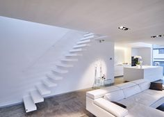 Modern Corian Staircase With Floating Steps. Model