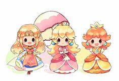 Princesa Daisy, Princesa Zelda, Princesa Peach, Nintendo Characters, Chibi Characters, Video Game Characters, Super Mario Princess, Nintendo Princess, Mario Fan Art