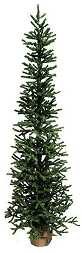 Pack of 2 Slim Artificial Pine Christmas Tree with Burlap Base 5  Unlit ** Be sure to check out this awesome product.