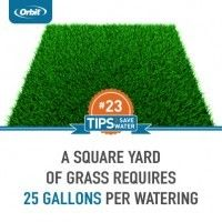 A square yard of grass requires 25 gallons per watering