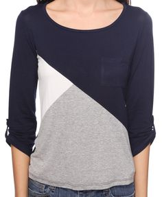 Asymmetrical Colorblock Top-an idea for a stained sweater. Now I just need to find another sweater to block with it.