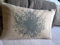 I will touch a hundred flowers And not pick one. Hand printed in Wiltshire. Returning to where it all started an allium , double printed in duck egg and naturals on russian linen and ribbed cotton completely . Printed Cushions, Allium, Pick One, Bed Pillows, Egg, Textiles, Colours, Interior Design, Sweet