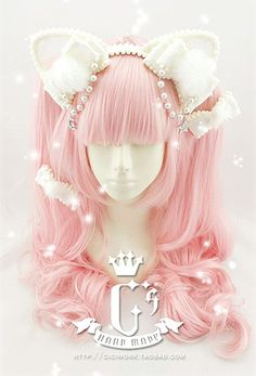 cat ear Lolita hair accessory from ciciwork.Cute cat ear Lolita hair accessory from ciciwork. Pelo Lolita, Lolita Hair, Lolita Dress, Harajuku Fashion, Kawaii Fashion, Lolita Fashion, Cute Fashion, Kawaii Hairstyles, Cute Hairstyles