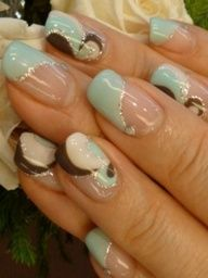 pale blue,chocolate brown and silver swirls