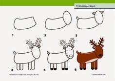kerajinan anak, cara menggambar rusa untuk anak SD