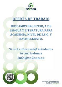 #Oferta #Empleo Profesor/a de Lengua y Literatura, para ESO y Bachillerato, interesados enviar mail a info@se2san.es #SanJuandelPuerto #Trigueros #Academia Academia, Baccalaureate, Teacher, Literatura, Centre