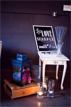 sparkler station #sparklers #weddingexit #weddingchicks http://www.weddingchicks.com/2014/01/14/deep-purple-wedding/