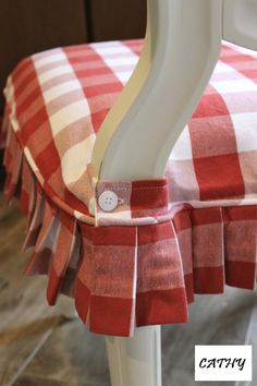 Red and White Buffalo Check Slipcovers - Slipcovers by Shelley - funda para silla Dining Chair Slipcovers, Chair Cushions, Dining Chairs, Kitchen Chairs, Club Chairs, Room Chairs, Slipcover Chair, Dining Chair Seat Covers, Kitchen Decor