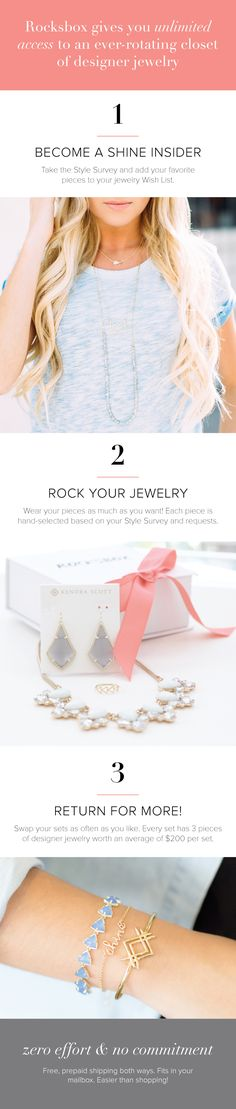 Unlimited designer jewelry for $19/month? Yes please! Try Rocksbox and get 3 pieces curated just for you by our stylists, delivered straight to your door!