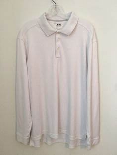 Mens ADIDAS Climalite White Long Sleeve Golf Shirt Top Large L Sport Athletic #adidas #ShirtsTops