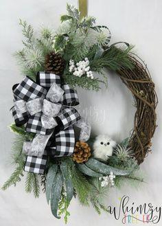 Christmas Wreath for front door-Farmhouse Christmas Wreath-Owl Christmas Wreath-Winter Wreath-Rustic Christmas Wreath-Buffalo Plaid Wreath Grapevine Christmas, Christmas Wreaths For Front Door, Christmas Signs Wood, Christmas Owls, Rustic Christmas, Christmas Decorations, Christmas Stuff, Christmas Ideas, Owl Wreaths